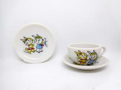Vintage Porcelain JAPAN Child's Toy Tea Cup & Saucer Set - Mr & Mrs. Bunny