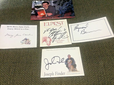 Four different signed bookplates & autographed photo of Christopher Paolini