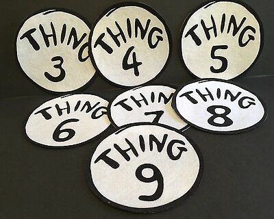 """Craft - Iron-On Patch - """"THING"""" #s 3-9 Round Dr. Seuss Costume Patch - Felt"""
