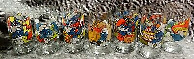 SMURF Glasses Lot of 7 1982 1983 Peyo Wallace Berrie Collector