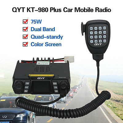 QYT KT-980 Plus Color LCD Mobile Radio 75W/VHF 55W/UHF +Speaker Microphone 2Tone