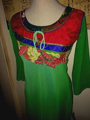 Kalanikethan Indo-Western Dress By +Color, Green With Red,gold,brocade, Med.