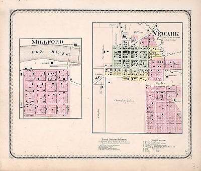 KENDALL COUNTY ILLINOIS 1870  plat map old GENEALOGY history Atlas Land P52