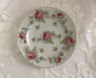Lefton China Plate Salad Plate Luncheon Plate White With Pink Roses Handpainted