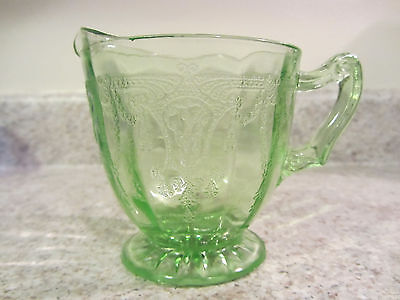 """Cameo, Ballerina"" Pattern Green Depression Glass Creamer"