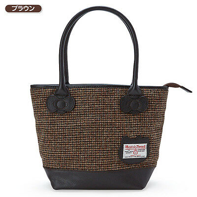 Hello Kitty Harris Tweed Midi Tote Bag Brown ❤ Sanrio Japan