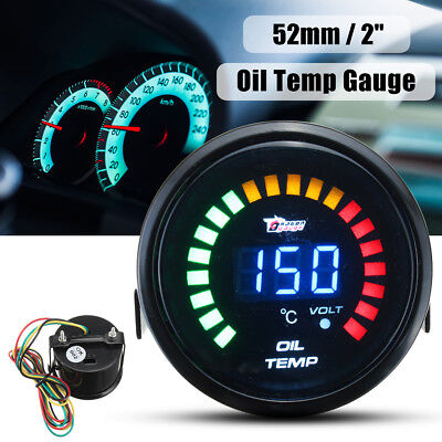 2'' 52Mm 20 Led Light Digital Car Auto Oil Temp Temperature Gauge Meter Analog