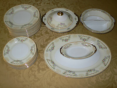 """Vintage Meito China """"flora"""" Japan Hande Painted 23 Pieces"""