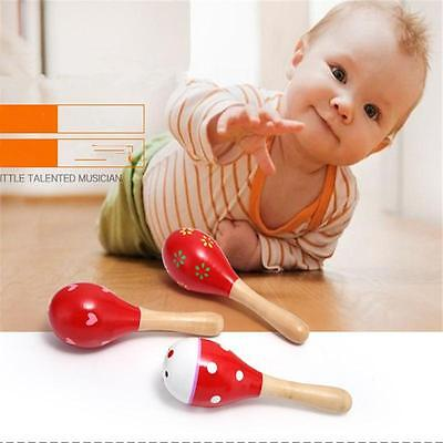 Kids Wooden Ball Sand Hammer Rattle Musical Instrument Christmas Gift Baby W1-