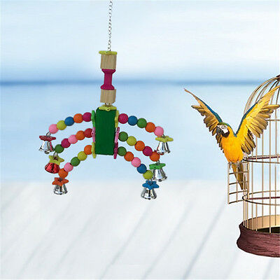 Pet Bird Parrot Parakeet Budgie Cage Bell Swing Toys Climb Chew Bite Hanging Toy