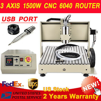 1500W USB 3/4Axis 6040 Router CNC Engraver Engraving Cutting Milling Machine