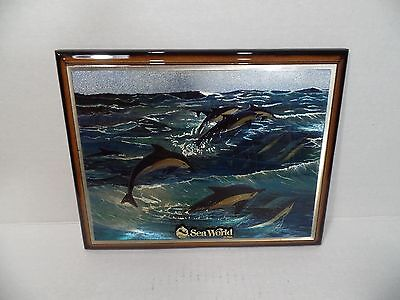 Sea World Wooden Wall Plaque Souvenir - Swimming Dolphins