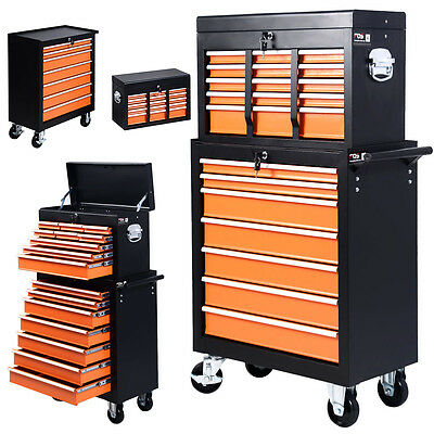 Portable 16 Drawers Tool Cart Top Chest Box Rolling Toolbox Cabinets Storage New