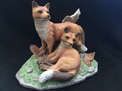 Vintage Red Fox Family Bisque Porcelain Figurine Realistic Natural Setting EVC