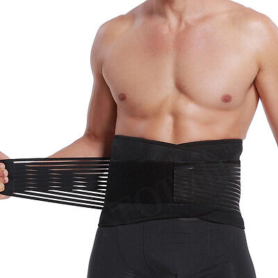 Lumbar Support/ Lower Back Brace with Banded Strong Compression Pull Straps
