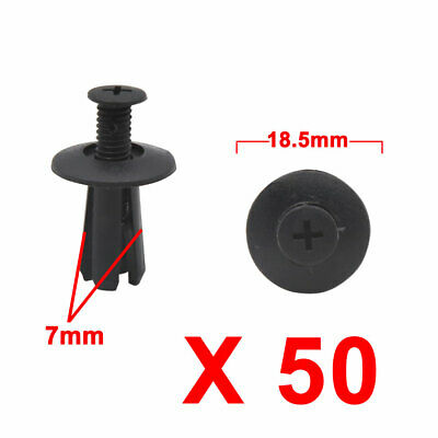 50Pcs Black Car Plastic Rivets Trunk Door Bumper Screw Fastener Clip 7mm