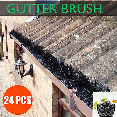 24pcs 100mm Gutter Brush Guard Outdoor Heavy Duty Protector Filter Leaf Twigs