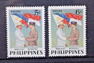 PHILIPPINES 1953 Quirno's Visit to Indonesia. Set of 2. Mint HINGED. SG754/755.
