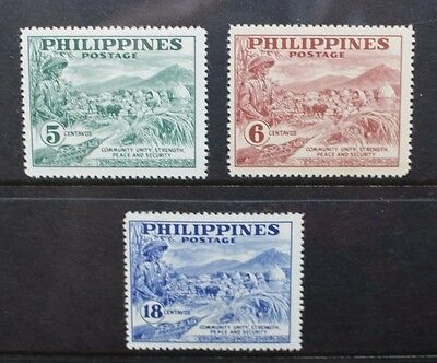 PHILIPPINES 1951 Guarding Peaceful Labour. Set of 3 Mint Never Hinged SG718a/720