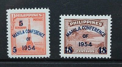 PHILIPPINES 1954 Manila Conference Surcharge. Set of 2. Mint HINGED. SG769/770.