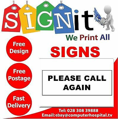 PLEASE CALL AGAIN DOOR Sticker, Correx Plastic Or Aluminium Sign - Q0063