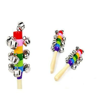 Lovely Baby Kid Rainbow Pram Crib Handle Wooden Bell Stick Shaker Rattle Toy WS-
