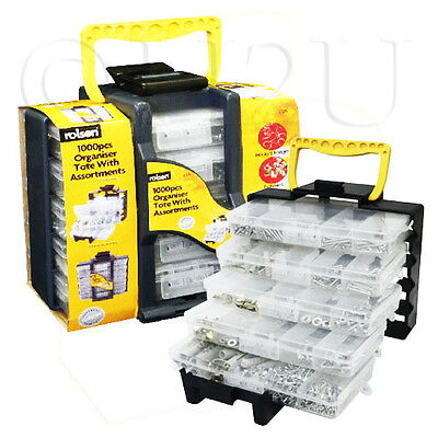 Tote Box Tray Organiser 5 Trays 1000 Assorted Fixtures Screw Box DIY Rolson