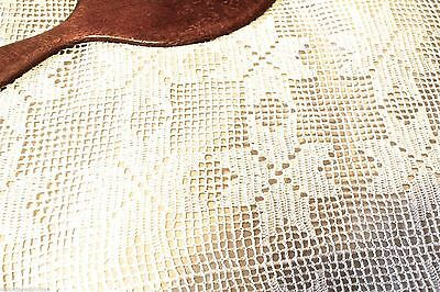 """Antique 8 Pt Star Bed Spead Hand Crocheted Filet  Canopy Cover 90"""" x120"""""""