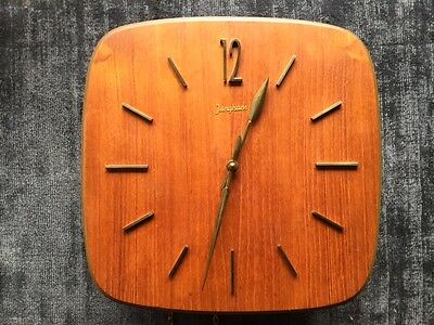 Vintage 1960s Junghans Wall Clock in Teak and Brass with Weights and Pendelum