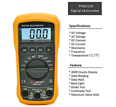 PEAKMETER PM8233E Digital handheld Multimeter Auto Ranging DC AC Voltmeter