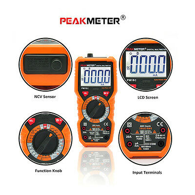 PEAKMETER PM18C Handheld Digital  Multimeter AC / DC Voltage Current Temperature