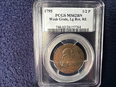1795 WASHINGTON  1/2 P  GRATE, Large But, RE   PCGS  MS 62 BN