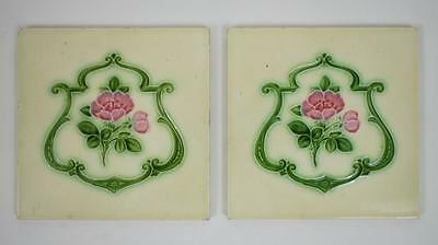 Pair of Art Nouveau wall or wash stand tiles, pink roses  circa 1900 -1920