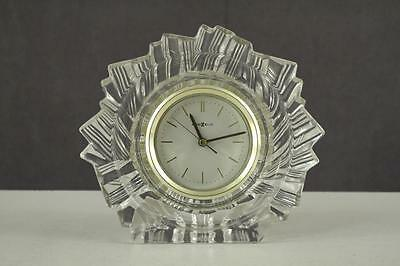 "MODERN Howard Miller Germany Lead Crystal & Brass Frame Shelf Clock 7.25"" Tall"
