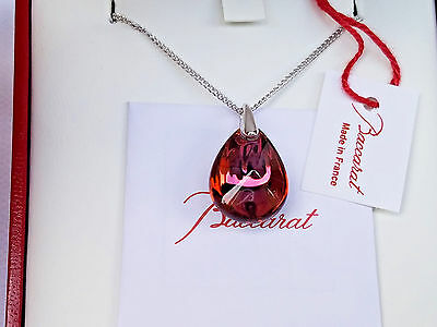 Baccarat Psydelic Pendant Necklace XS Pink Mordore Sterling Silver France NIB