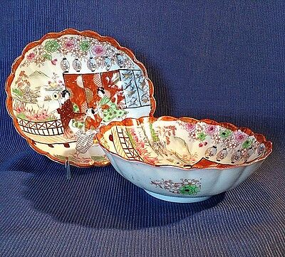 2 Bowls - Japanese Musicians And Dancers -  Hand Painted With Gilded Accents