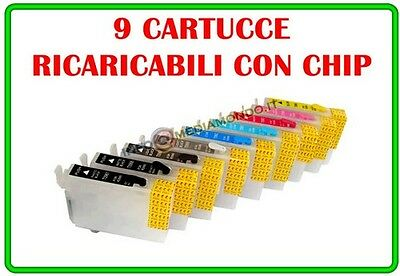 Kit 9 Cartucce Ricaricabili Per Epson Stylus Photo R2880 Con Chip Autoresettante