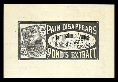 Pond's Extract Co. New York 1885 Antique Pain AD Bottle Packaging Buff Wrapper