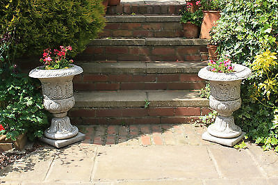 (NEW)Garden Stone Ornaments~Two Large Classic Vases /Urns /planters Great Design