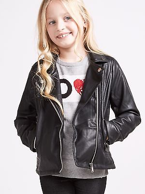 🖤 Girls Black Faux Leather Look Jacket Ages 8 9 10 11 12 13 14 Coat Biker