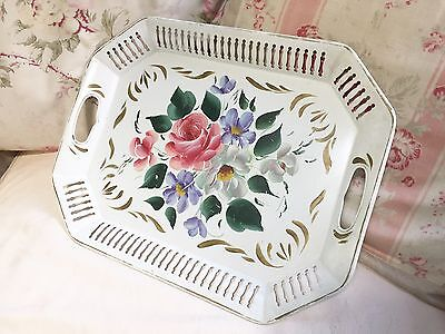 Vintage White Tole Tray Roses Hand Painted Floral Reticulated Gold Accents