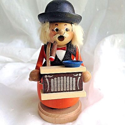 Straco Handcrafted Organ Grinder Wooden Incense Burner Smoker Made in Germany