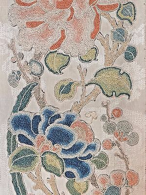 19th C. Qing [Ching] Dynasty Chinese Silk Embroidered Sleeve Panels-- PAIR
