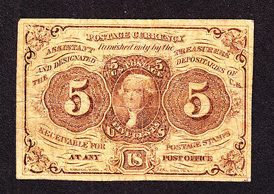 """US 5c Fractional Currency w/""""ABC"""" 1st Issue FR 1230 VF (-002)"""