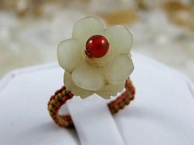 Antique Old Natural High Quality Hetian Jade Handmade Button Flower RING  Size 5