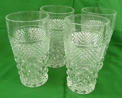 Anchor Hocking Wexford Ice Tea Glasses Tumblers Clear Glass Lot of 4