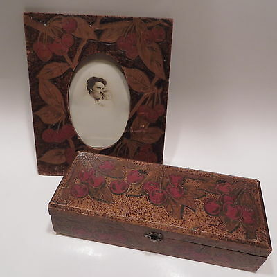 Antique Vtg Wood Pyrography Cherries Picture Frame and Box Flemish Arts Crafts