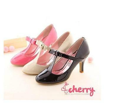 AU Womens Patent Leather Lolita T-Strap Mary Jane Round Toe Pumps Shoes Mid Heel