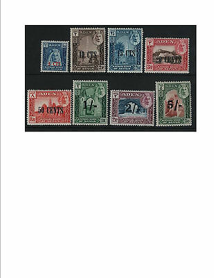 Aden 1951 Kathiri overprints Mint Set of 8 cat £38