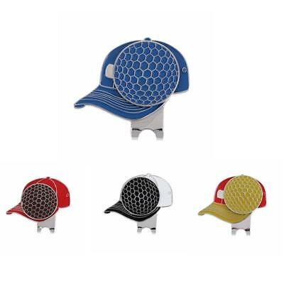 Metal Golf Cap Magnetic Golf Ball Marker with Hat Clip Golfer Gift 4 Colors